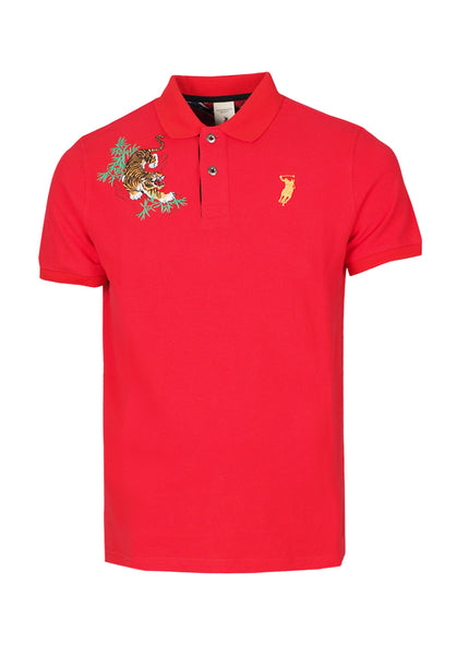 Polo Haus - Crouching Tiger Design S/S Collar Tee (Red)