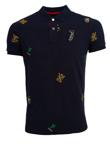 Polo Haus - Vintage Full Print Collar Tee (Navy Blue)