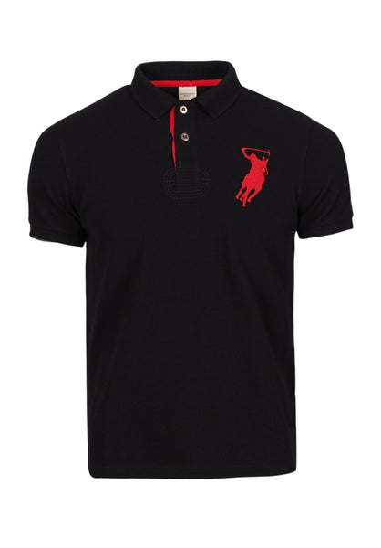 Polo Haus - Eagle Patch Work Design Collar Tee (Black)