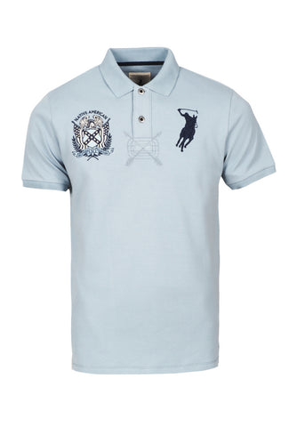 Polo Haus - Indigo - Native American Design Collar Tee (Grey Blue)