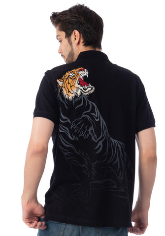 Polo Haus - Flying Tiger S/S Collar Tee (Black)