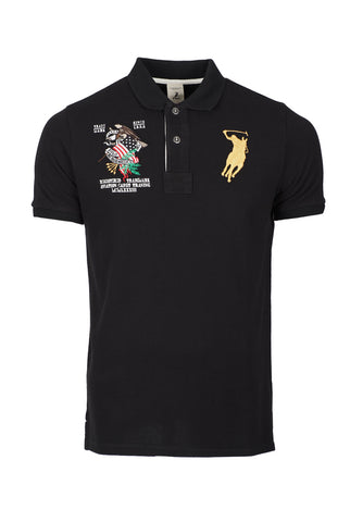 Polo Haus - Eagle Patch Work Design S/S Collar Tee (Black)