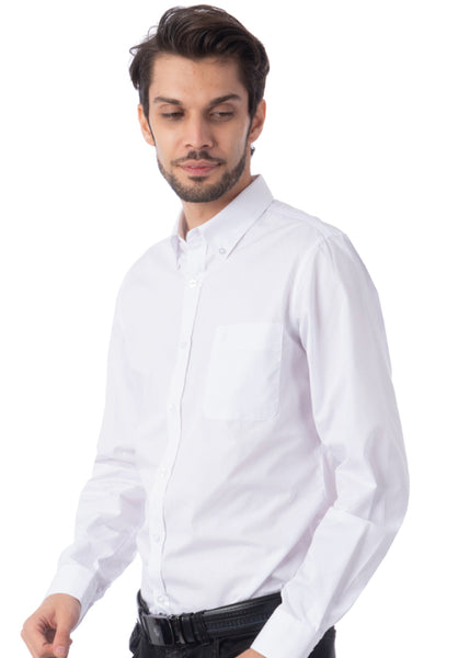 Polo Haus - Solid Color L/S Shirt with Pocket (White)