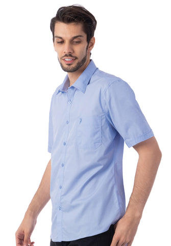 Polo Haus - Solid Color S/S Shirt with Pocket (Light Blue)