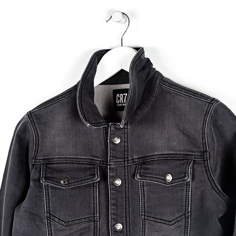 CR7 Junior Trucker Jacket - Charcoal - closeup
