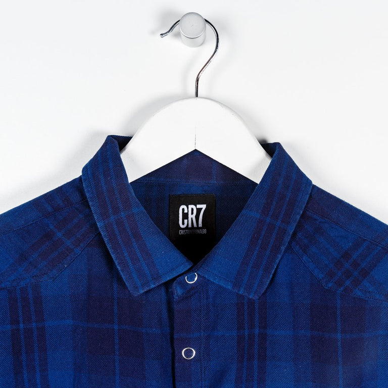 CR7 Junior Camo Shirt - Blue Multi - closeup