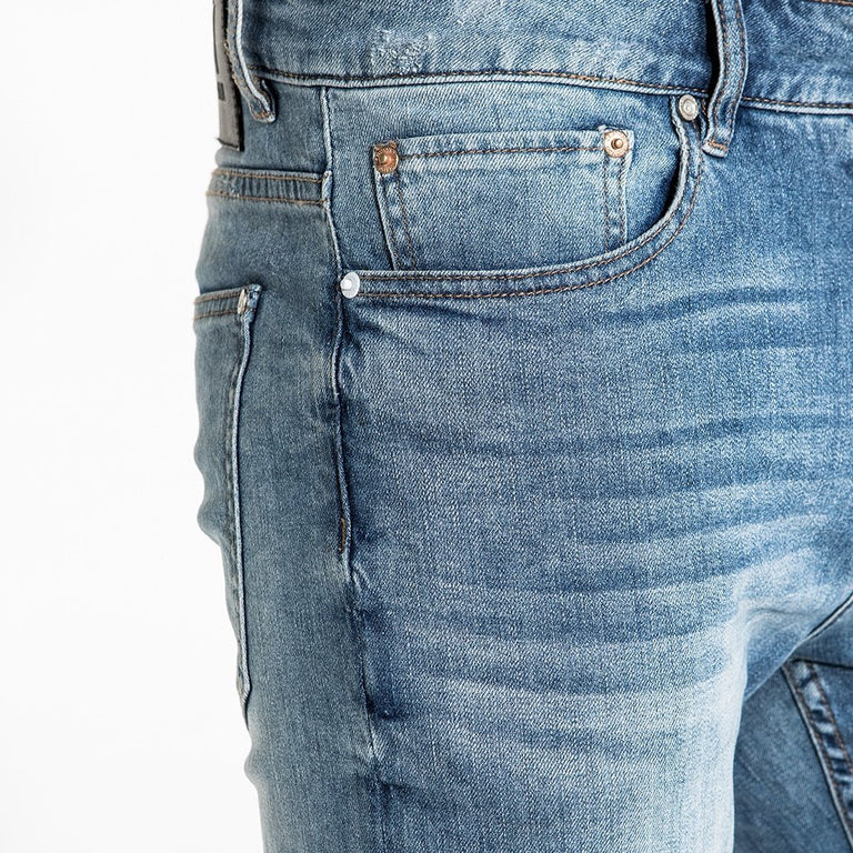 CR7 Denim Type-R Modern Straight - Stream Blue - front pocket closeup
