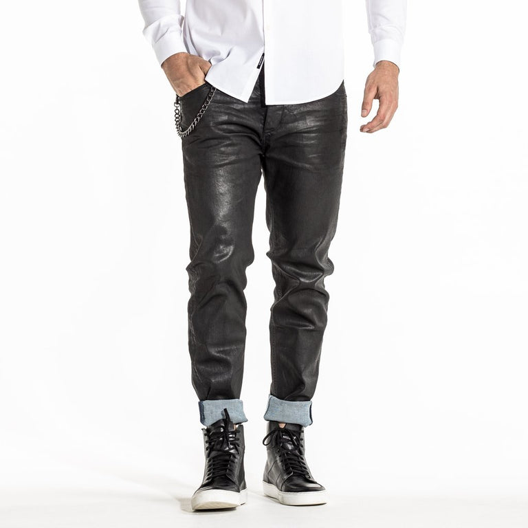 CR7 Denim Type-C Slim Straight - Waxed Jet - front view