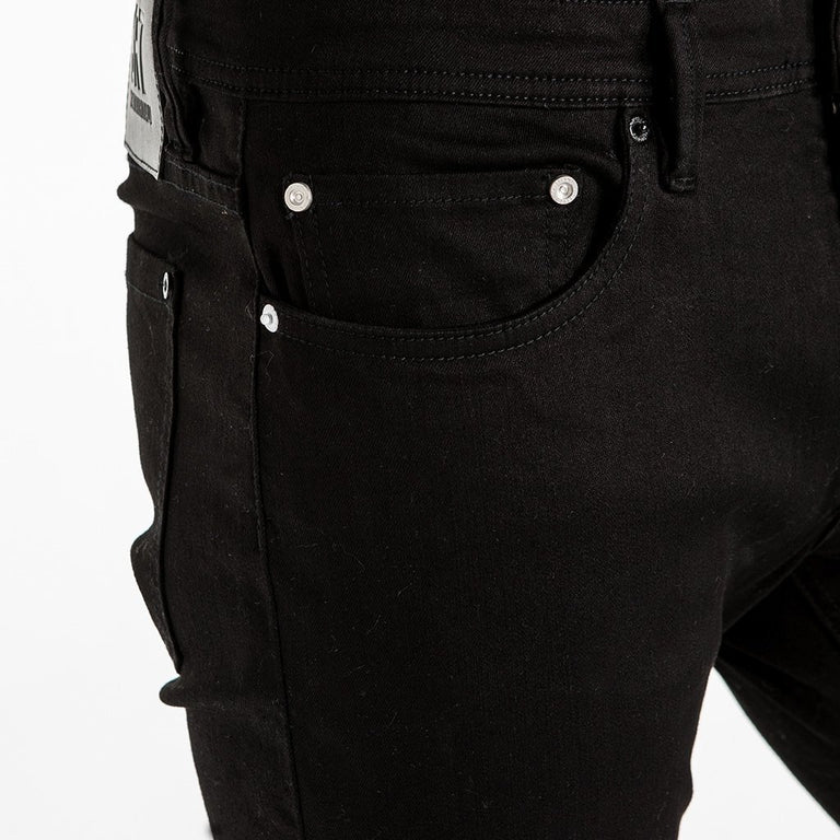 CR7 Denim Type-S Super Skinny - Jet Black - front pocket closeup