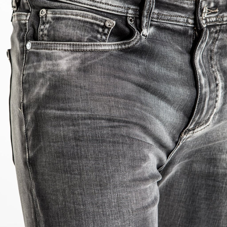 CR7 Denim Type-S Super Skinny - Asphalt - front pocket closeup