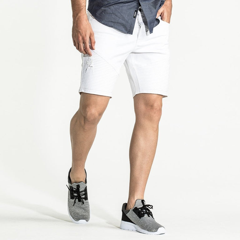 CR7 Denim White Moto Short - front view