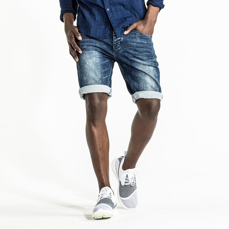 CR7 Denim Navy Wash Back Short - front view