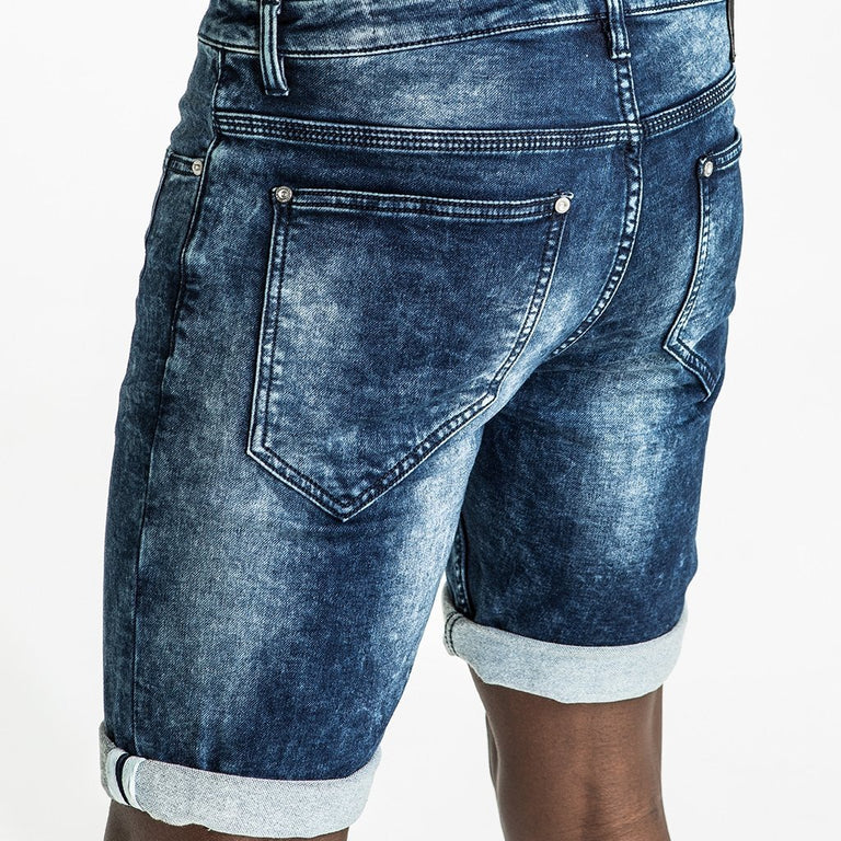 CR7 Denim Navy Wash Back Short - leg closeup