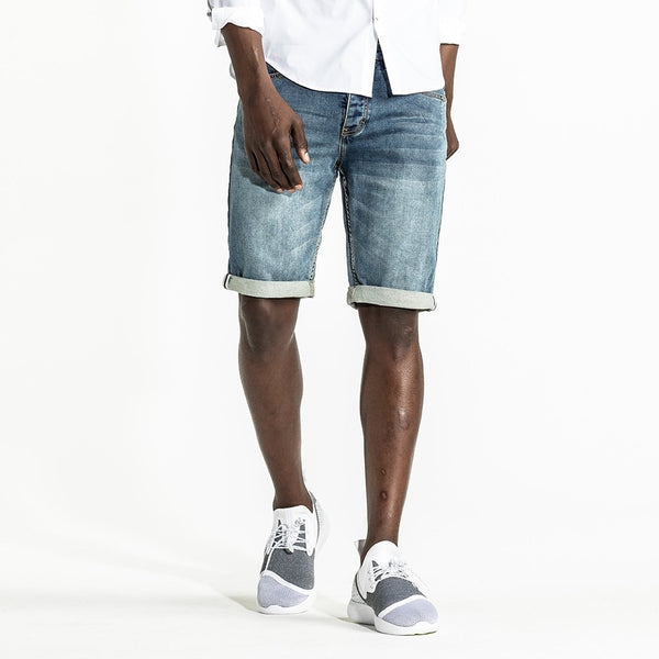 CR7 Denim Blue Eyes Wash Back Short - front view