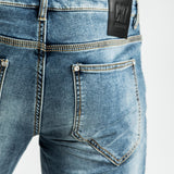 CR7 Denim Blue Eyes Wash Back Short - back pocket closeup