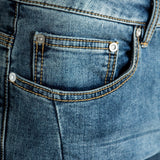 CR7 Denim Blue Eyes Wash Back Short - front pocket closeup