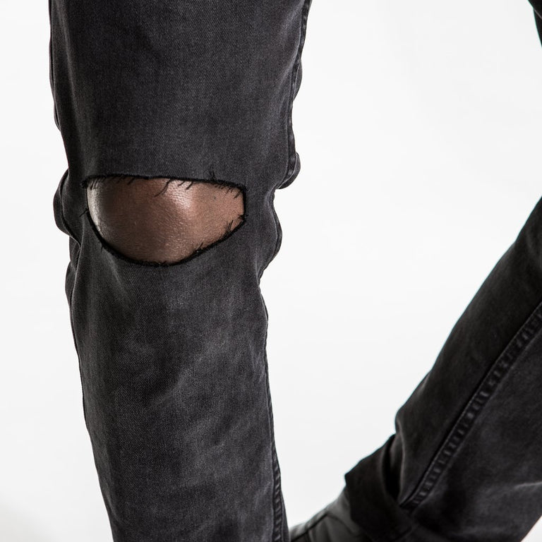 CR7 Type-S Super Skinny Charcoal - knee slash closeup