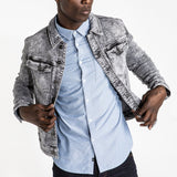 CR7 Denim Tucker Jacket - Stone Grey - front view opened