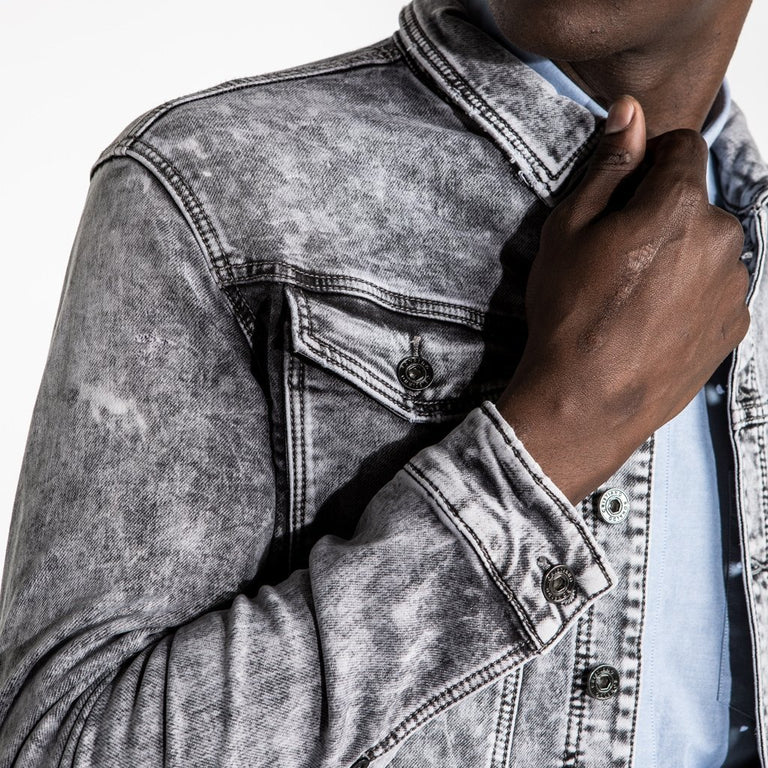 CR7 Denim Tucker Jacket - Stone Grey - cuff closeup