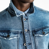 CR7 Denim Trucker Jean Jacket - Blue Eyes - front pocket closeup