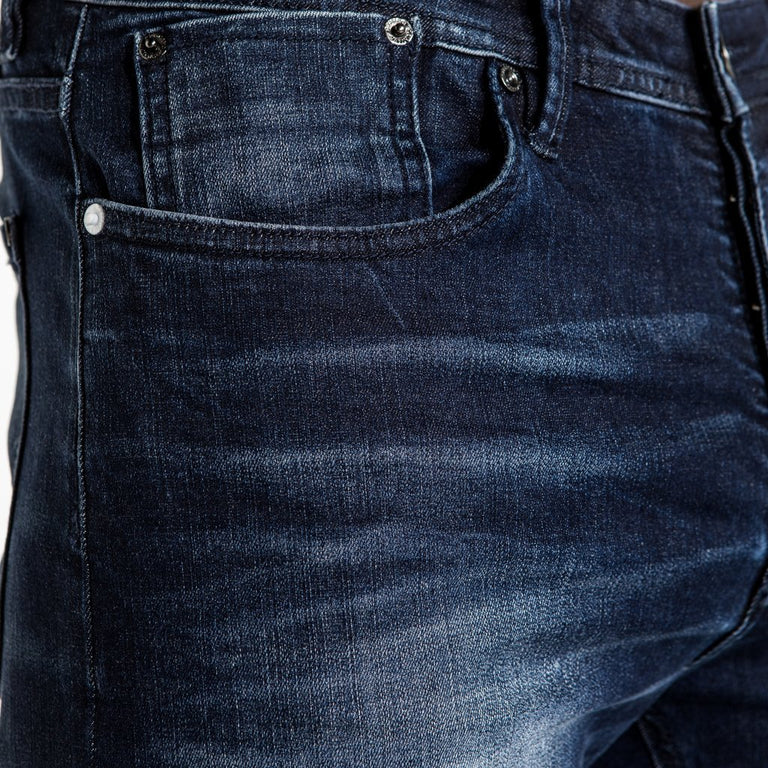 CR7 Denim Type-S Super Skinny - Dark Water - front pocket closeup