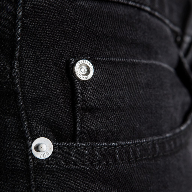 CR7 Denim Type-T Tapered - Ebony - front pocket closeup