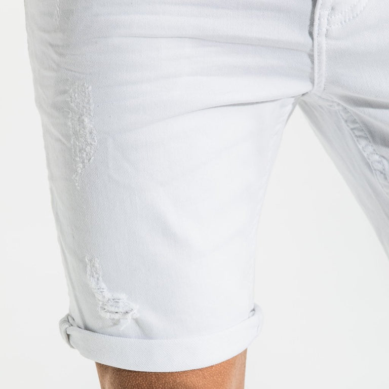 CR7 Denim White Rip Back Short - rip closeup
