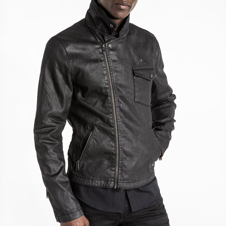 CR7 Denim Biker Jacket - Waxed Jet - zipped up