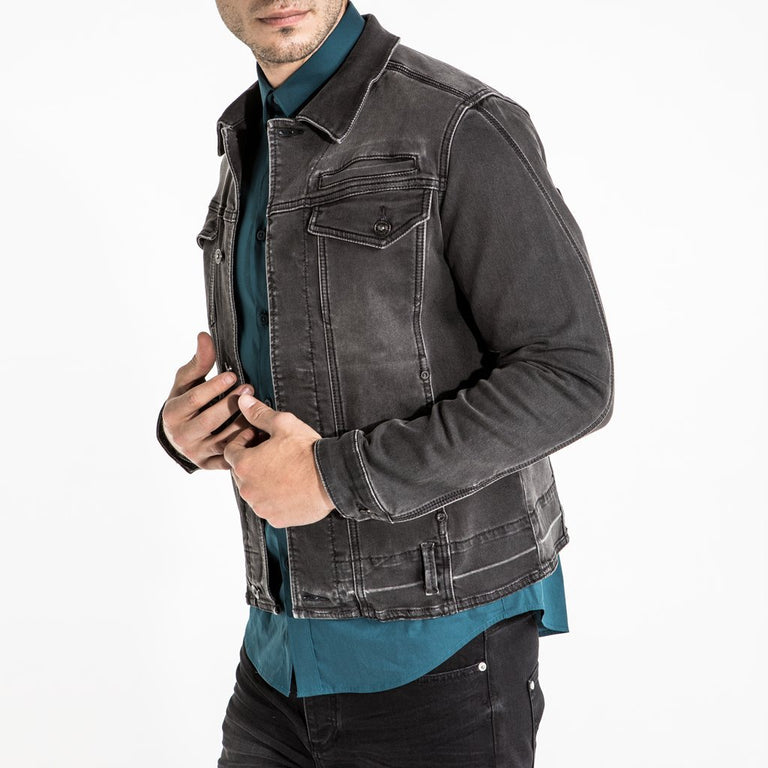 CR7 Denim Trucker Jacket - Charcoal - side view