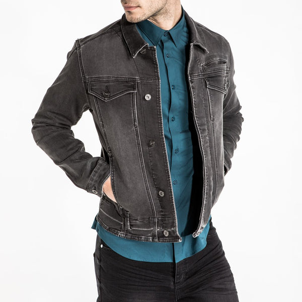 CR7 Denim Trucker Jacket - Charcoal - front view