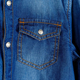 CR7 Junior Patch Pocket Shirt - Arcade Blue - pocket closeup