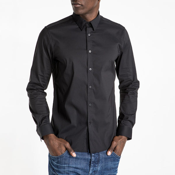 CR7 Denim Crown Shirt Black - front view