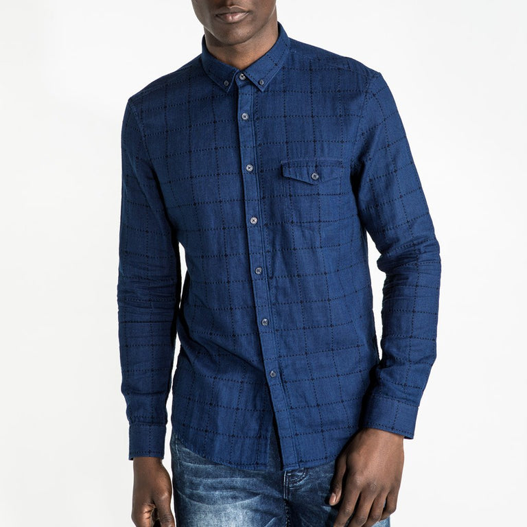 CR7 Denim TYCO Shirt Indigo - front view