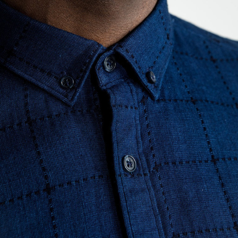 CR7 Denim TYCO Shirt Indigo - neck closeup