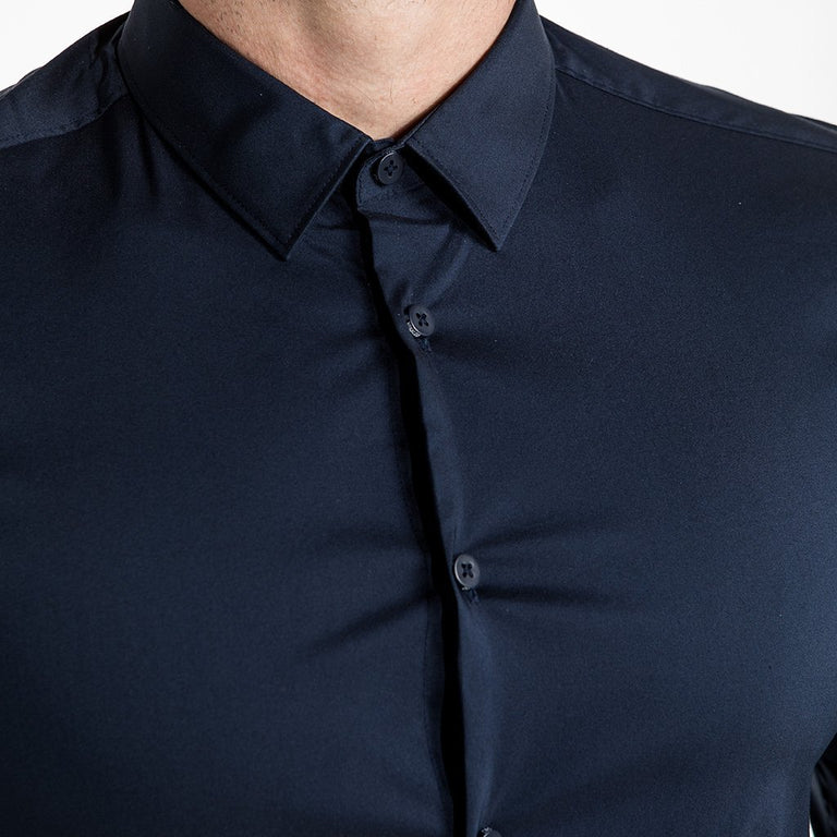 CR7 Denim Crest Shirt Navy - neck closeup