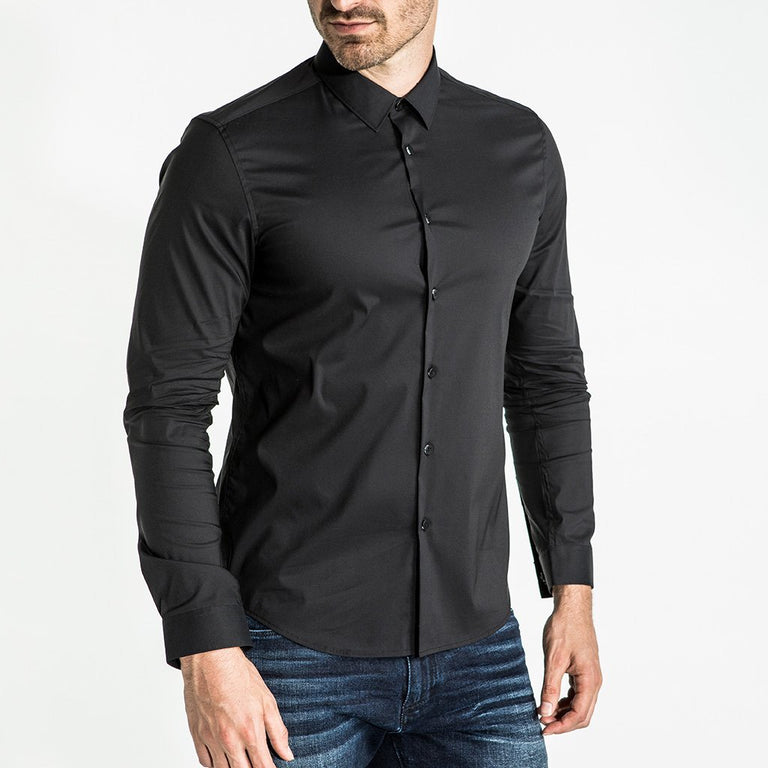 CR7 Denim Crest Shirt Black - front view