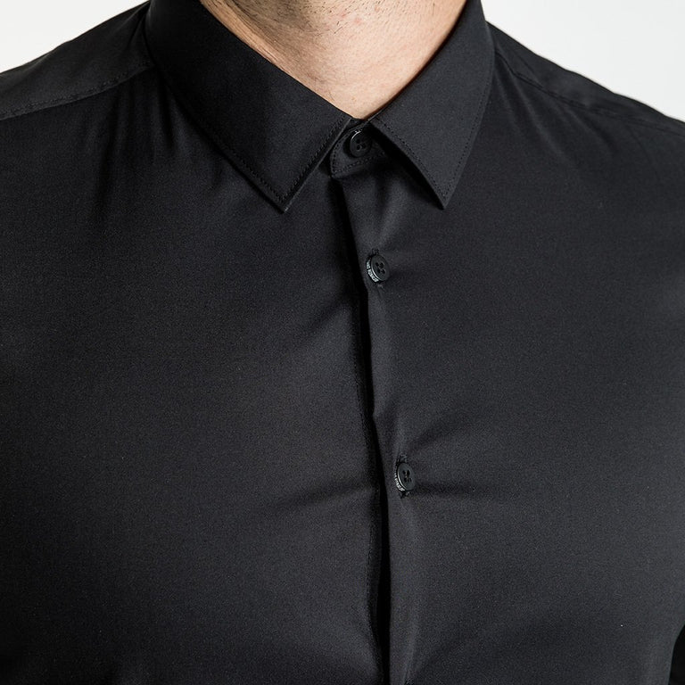 CR7 Denim Crest Shirt Black - neck closeup