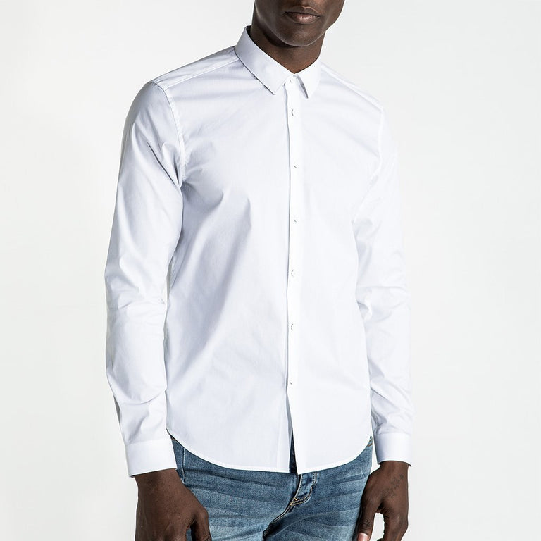 CR7 Denim Crest Shirt White - front view