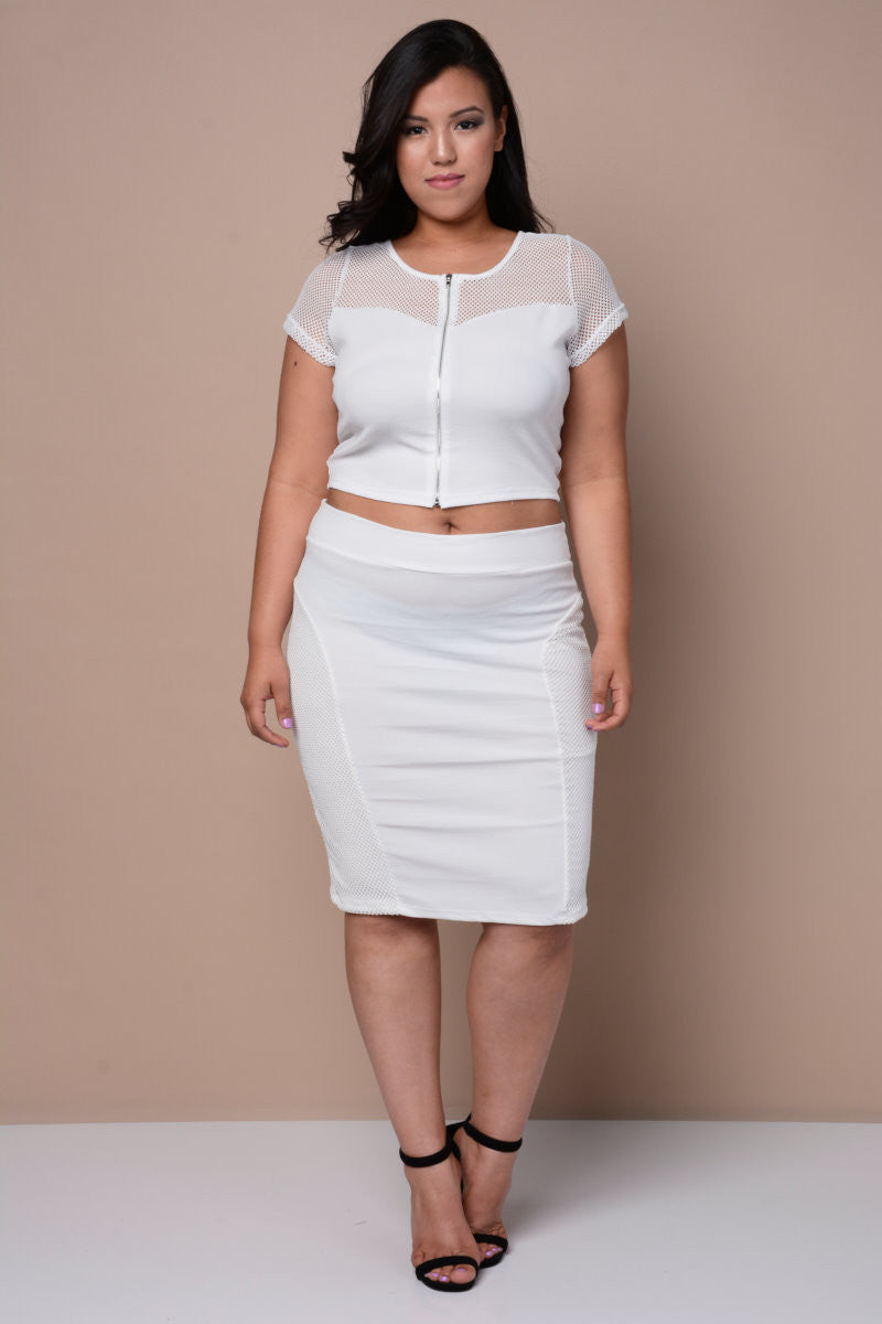 Plus Size Sheer Zip Netted Top - White