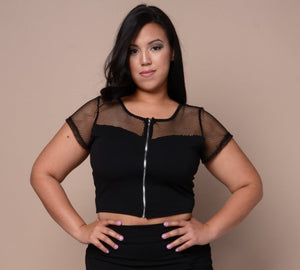 Plus Size Sheer Zip Netted Top - Black