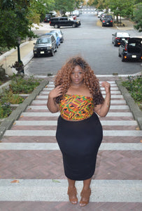 Pattern Kente Crop Tube Top