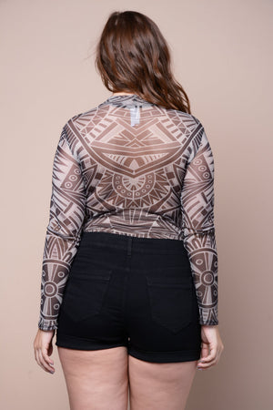 Plus Size Mesh Aztec Tribal Print Bodysuit