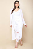 Long Sheer Open Cover-Up Cardigan - White