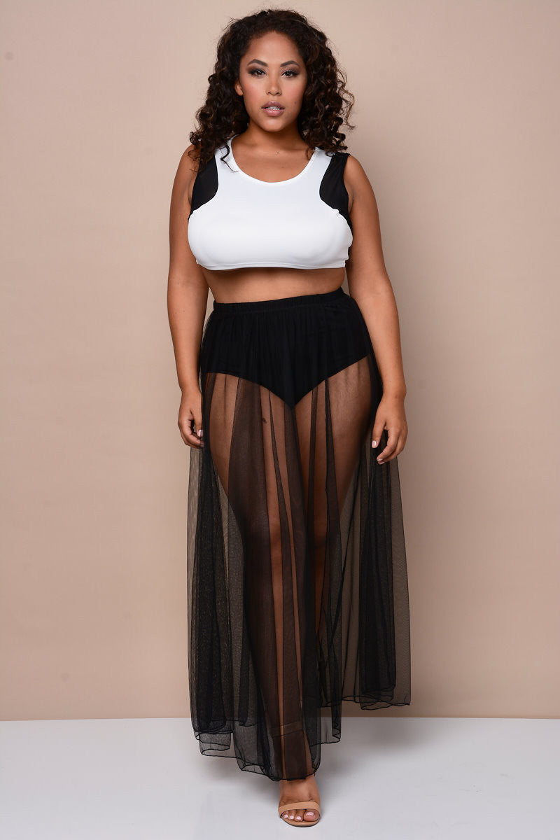 Plus Size Sheer Black Mesh Maxi Skirt