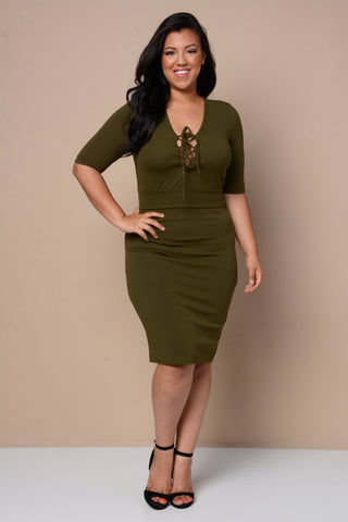 Plus Size Lace-Up 2-Piece Set - Olive Khaki