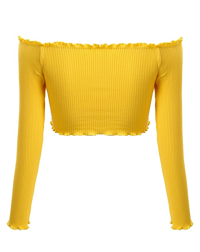 Sunshine Ribbed Crop Top - Yellow