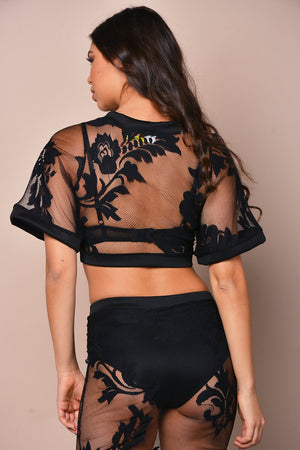 Sheer Lace Floral Mesh Top