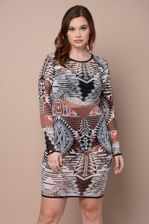 Plus Size Aztec Tribal Sheer Mesh Dress