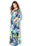 Plus Size Print Maxi Long-Sleeve Dress Blue