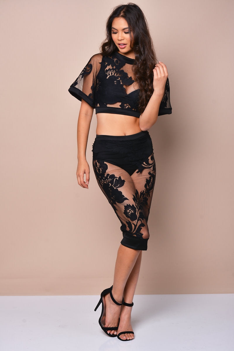Sheer Lace Floral Mesh Skirt